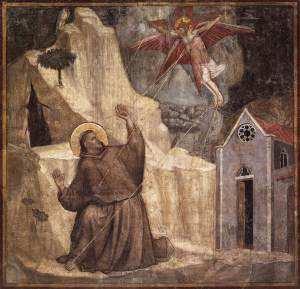 """Scenes from the Life of Saint Francis: Stigmatisation of Saint Francis"", Giotto, 1325, Fresco, Bardi Chapel - Florence"